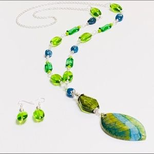 Agate, Azurite, & Lampwork Necklace & Earrings Set